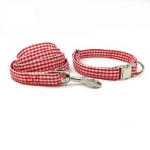 Red Checkered Bowtie Collar and Leash Set